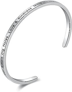 Candyfancy Inspirational Messaged Stainless Steel Cuff Bangle Bracelet Women Girls Men