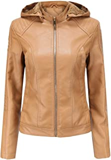 Mikilon Women's Quilted Faux Leather Sherpa Lined Hooded Moto Biker Jacket