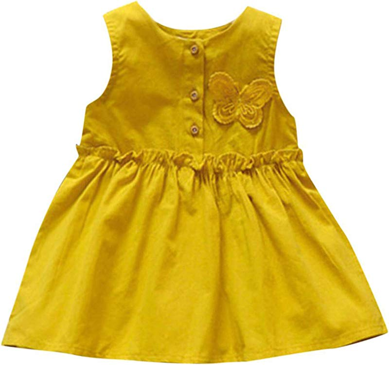 Baby Girls Solid Sleeveless Butterfly Dress Princess Dress Casual Infantil Sg Orange 18M United Ates