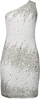 One Shoulder Pattern Sequin Mesh Sheath Dress