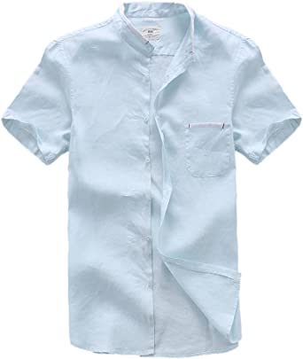 Insun Camisas de Lino Camisas Playa Hombres Manga Corta Casual
