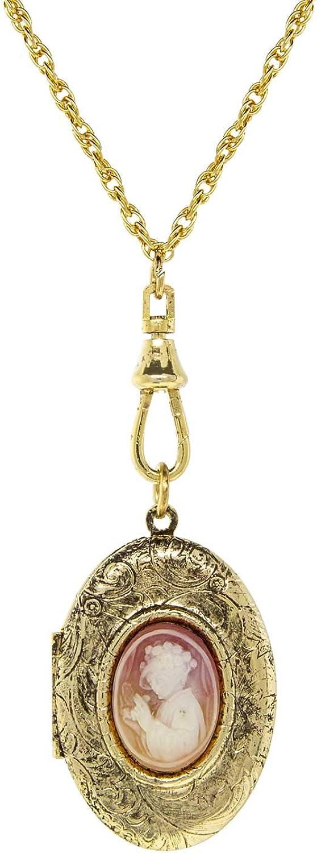 1928 Jewelry Gold Tone Oval Carnelian Cameo Locket Necklace 28 Inch