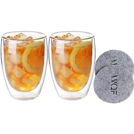 タンブラー グラス カップ ダブルウォールグラス 二重構造 耐熱 2個セット 350ml 450ml (350ml)