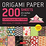 """Origami Paper 200 sheets Chiyogami Patterns 6 3/4"""" (17cm): Tuttle Origami Paper: High Quality, Double-Sided Origami Sheets with 12 Different Patterns (Instructions for 6 Projects Included)"""