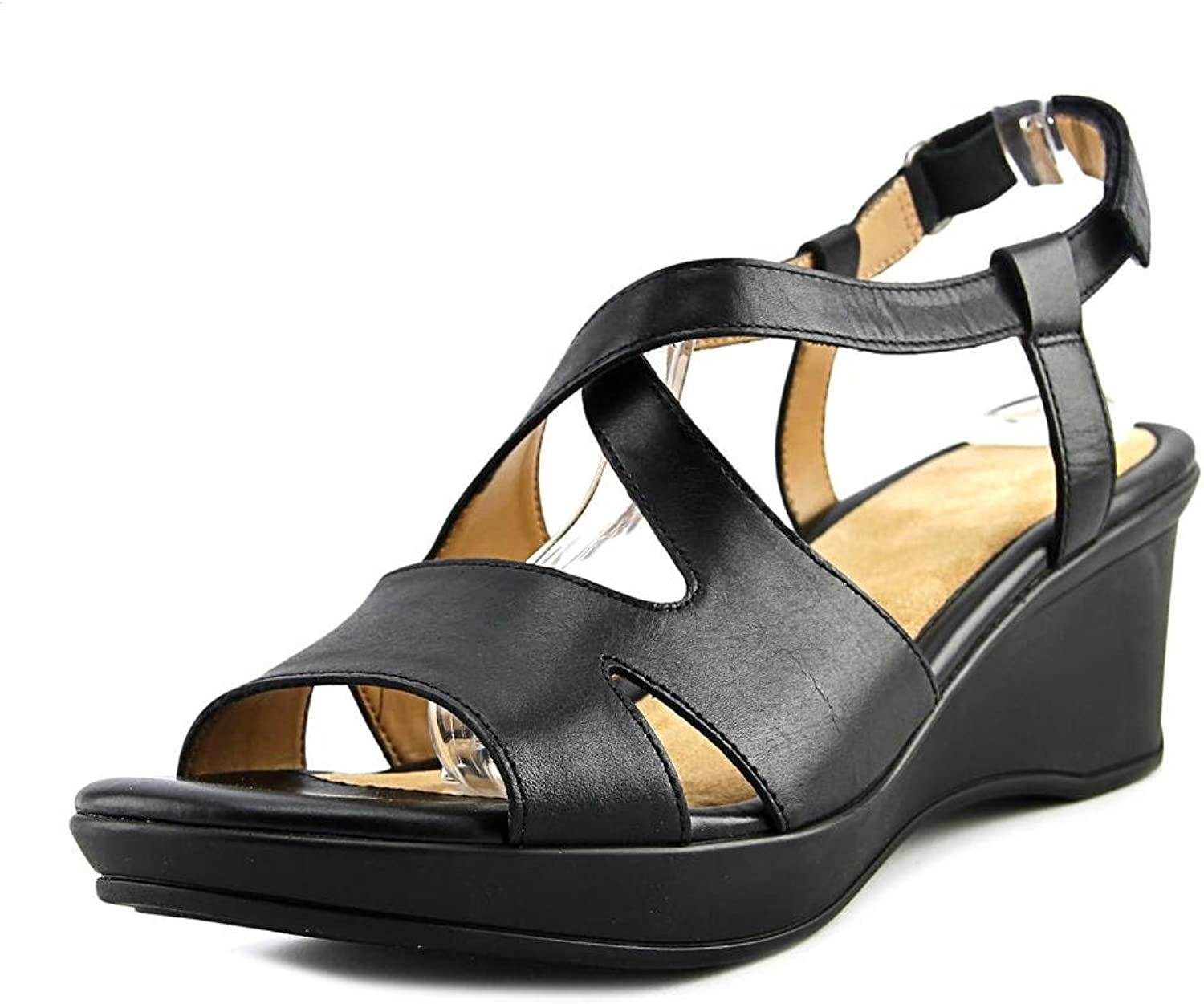 Naturalizer Womens Villette Leather Slingback Wedge Sandals