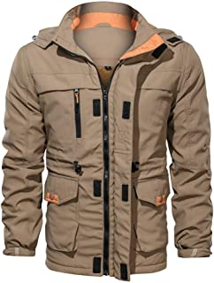 eipogp Men's Casual Military Jackets Sherpa Lined Solid Coat Windproof Hooded Parka Drawstring Outwear with Multi Pocket