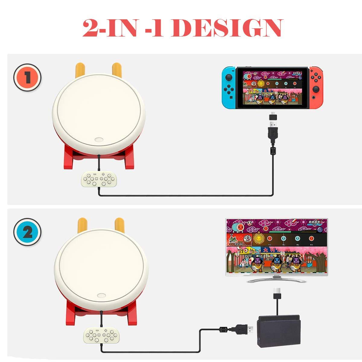 abcGoodefg - Controlador de tambor para Nintendo Switch, juego de mando de baquetas Taiko Drum Master accesorios para versión N- Switch: Amazon.es: Electrónica