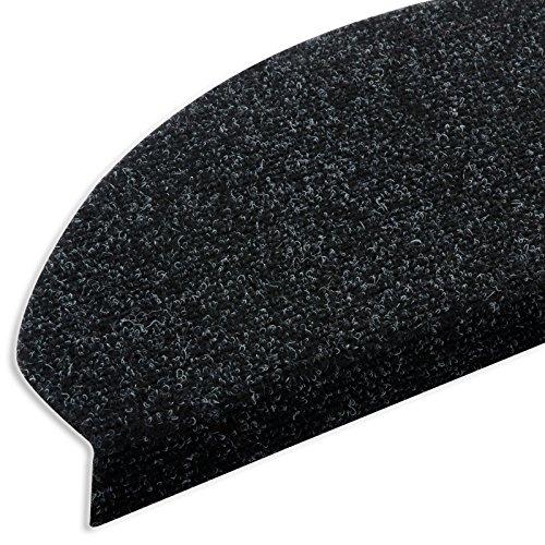 casa pura® Textilfaser - Stufenmatten | Testnote GUT | für attraktive & sichere Treppenstufen | Set mit 15 Stück | robuste Allzweck-Matten für Stufen (anthrazit)