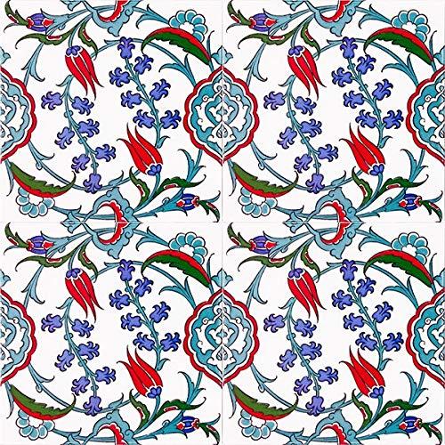 Pinar - Bunte türkische Wandfliesen, 1 Packung (4 Stück), Iznik Keramikfliesen mit Muster, 20x20, ideal für die Küche oder das Badezimmer.