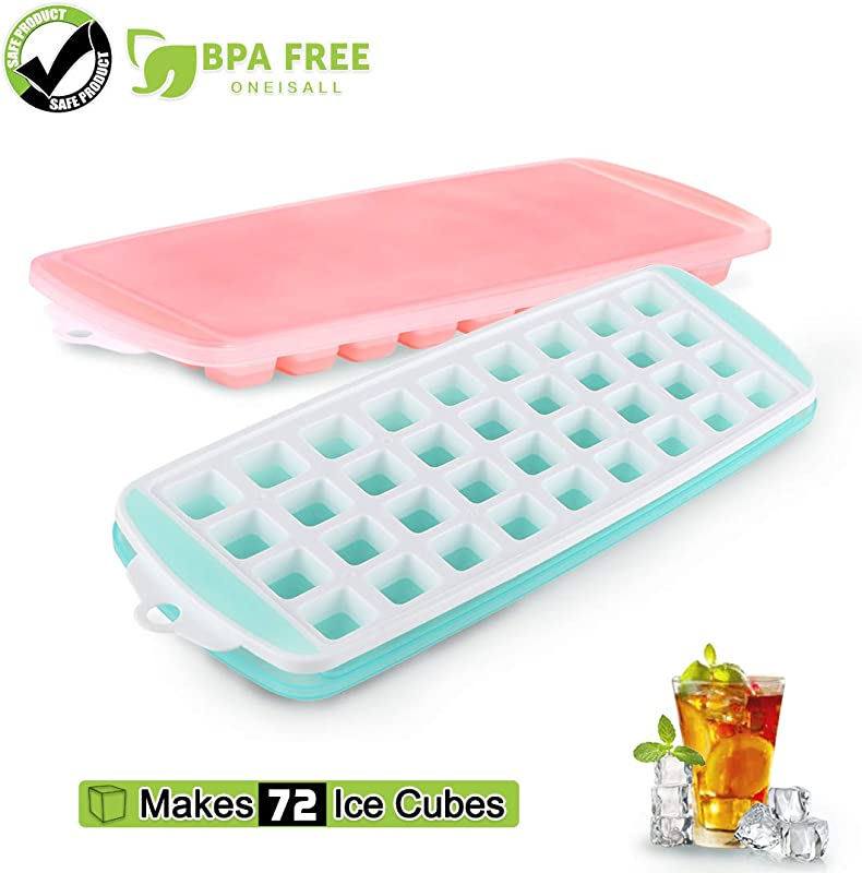 Ice Cube Trays With Lid 2 Pack Food Grade Silicone Ice Tray BPA Free Ice Cube Molds Easy Release Ice Trays Make 72 Ice Cube Stackable Ice Mold Set To Chilled Whiskey Beverages Cocktails