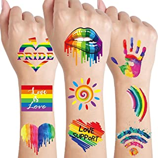 40 Sheets LGBT Pride Day Temporary Tattoo Sticker Rainbow Pattern Love is Love Flash Waterproof Fashion Body Art Men Women...