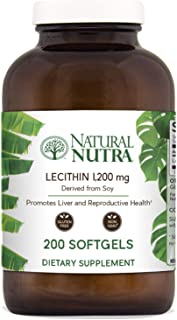 Natural Nutra Soy Lecithin Dietary Supplement from Soybean Oil, Non GMO, High Potency, 1200 mg, 200 Softgels