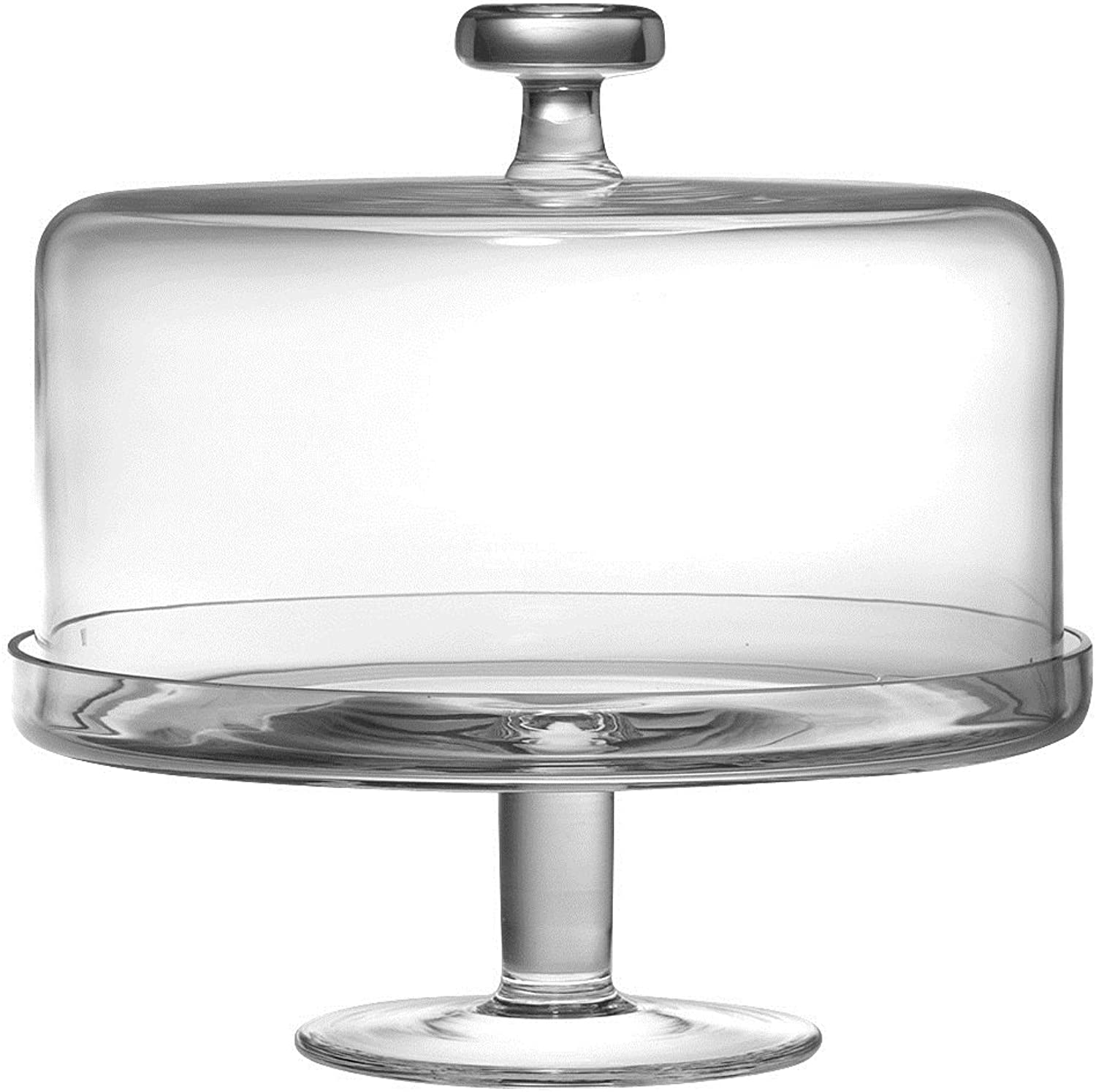 Barski Handmade Glass 2 pc Set , Footed Cake Plate with Dome, 12 H, 11 D (inside dome is 10.25 D), Clear , Made in Europe