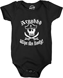 Crazy Dog T-Shirts Wipe Me Booty Aaaargh Romper Funny Pirate Sword Baby Creeper Bodysuit