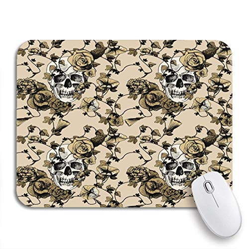 Gaming Mouse Pad Zucker von Schädel umgeben und bedeckt Pflanzen Blumen Vintage rutschfeste Gummi Backing Mousepad für Notebooks Computer Maus Matten