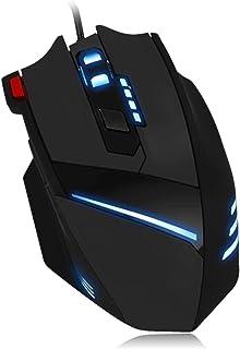 マウス 7200DPI有線ゲーミングマウスUSBパソコンLEDバックライトマウス7色 (色 : Black, Size : One size)