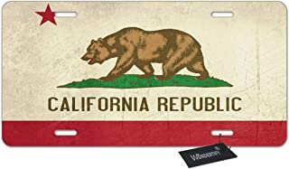 WONDERTIFY Grunge California State Flag of America License Plate, Isolated on White Background Decorative Car Front License Plate,Metal Car Plate,Aluminum Novelty License Plate,6 X 12 Inch (4 Holes)