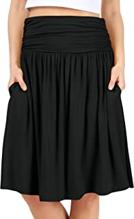 Womens Regular and Plus Size Skirt with Pockets Below The...