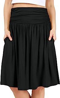 دامن های معمولی و سایز بزرگ Simlu Womens با جیب هایی زیر دامن تاج زانو دامن گلدار - ساخت آمریکا