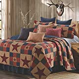 Quilt Bedding Set in Full/Queen by Virah Bella - Mountain Cabin Red Printed Lightweight Reversible Quilt with 2 Matching Pillow Shams - Cozy & Beautiful Lodge-Themed Bedding