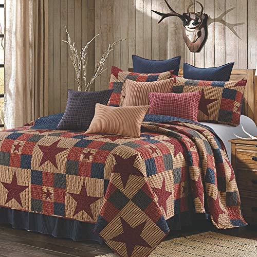 Quilt Bedding Set in King by Virah Bella - Mountain Cabin Red Printed Lightweight Reversible Quilt with 2 Matching Pillow Shams - Cozy & Beautiful Lodge-Themed Bedding