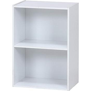 不二貿易 リビング収納 カラー ボックス 2段 ホワイト 幅41.8x奥行29.5x高さ60cm 96502