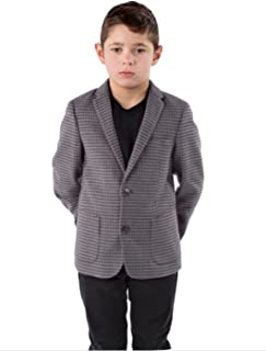 alfa perry Boys Sport Coat Blazer -Formal Suit Jacket -Charcoal Checkered/Plaid