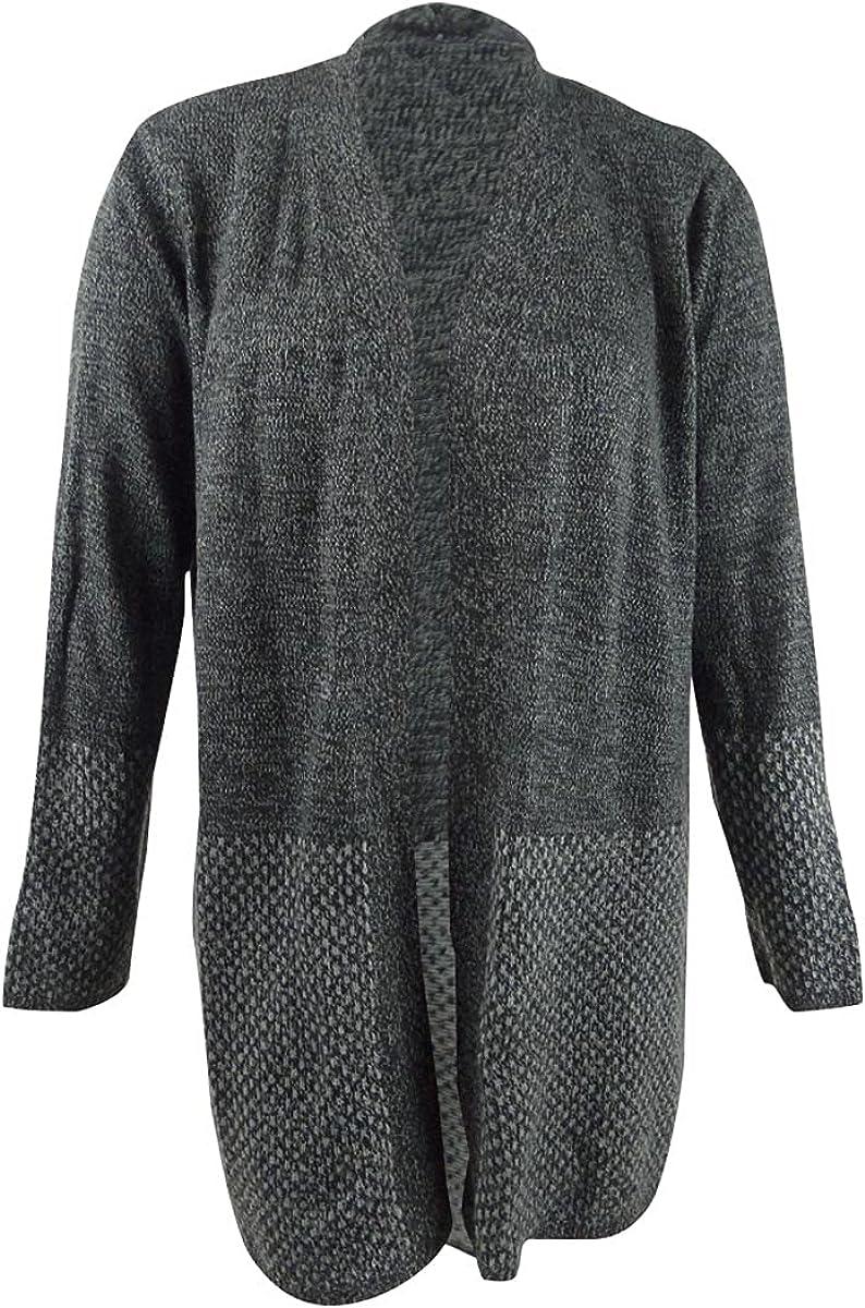 Karen Scott Plus Size Patterned-Border Cardigan Sweater Black 2X