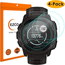 EZCO Compatible Garmin Instinct Screen Protector (4-Pack), Waterproof Tempered Glass Screen Protector Cover Saver Compatible Garmin Instinct Smart Watch [Scratch Resist] [Anti-Bubble]