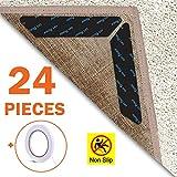 EAONE Rug Gripper 24 Pieces, Anti Curling Rug Gripper Tape Reusable Carpet Corner