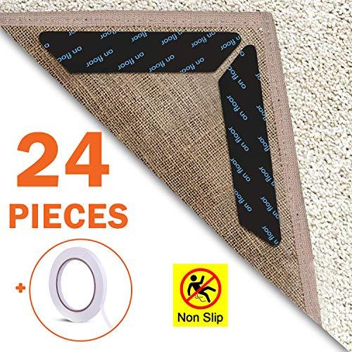 EAONE Teppich-Greifer, 24 Stück, Anti-Wellenbildung, wiederverwendbar, Teppich-Ecken, Anti-Rutsch-Teppich-Aufkleber für Holz/Laminat/Fliesenböden, harte Böden, mit 1 x Rolle doppelseitigem Klebeband