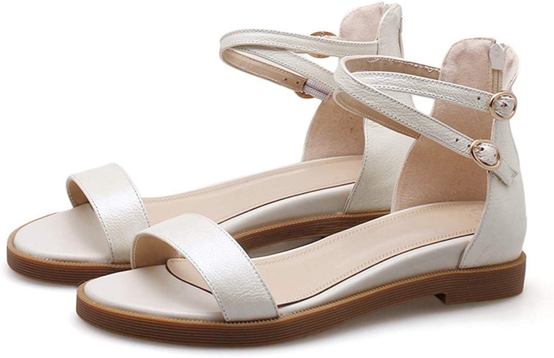 Kongsta Summer shoes Woman Buckle Casual Comfortable Sandals Women Zip Wedges Low Heels Genuine Leather shoes