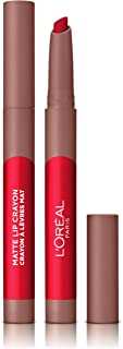 LOreal Paris Make-up Designer - Pintalabios Matte Crayón 111 A Little Chili permanente rojo frambuesa - 22 ml