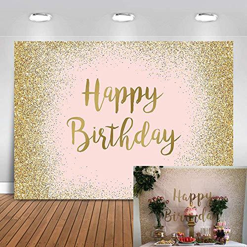 Avezano Oro Rosa Decoraciones para Fiesta de cumpleaños Princesa niña Paso y Fondo de repetición Estrellas Brillantes fotografía de Fondo Banner,2.2x1.5m