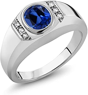 Gem Stone King Men's 925 Sterling Silver Blue Created Sapphire and White Created Sapphire Ring (1.66 Cttw, Available in si...