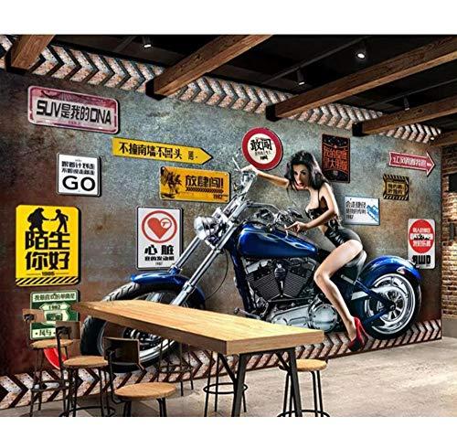 3D-fotobehang, personaliseerbaar, retro-stijl, nostalgische motor, schoonheidssoort, keuken, huisdecoratie, wandbehang 400 x 280 cm