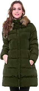 MORCOE Women's Winter Long Puffer Coat Thicken Outerwear Cotton Parkas Outdoor Jacket with Fur Trim Removable Hood