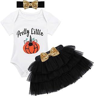 dPois B/éb/é Fille Body Tutu Costume Halloween Robe Manches Courtes Barboteuse Citrouille Imprim/ée Bandeau Costume Nouveau-n/ée Tenue F/ête danniversaire Carnaval 3-18 Mois