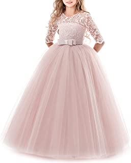 baffc13b0a3f Girls Flower Vintage Floral Lace 3/4 Sleeves Floor Length Dress Wedding  Party Evening Formal