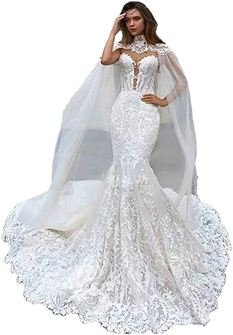 Elliebridal 2 Pieces Luxury Women's Bridal Ball Gown Mermaid Lace Wedding Dresses with Train Long Cape for Bride