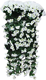 Respctful✿ Flowers Artificial for Decoration Wall Wisteria Basket Fake Silk Rattan Plant Garden Floral Hanging Baskets Decor