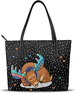 not Colorful Antlers Boho Rainbow Animal Theme Leather Tote Bag for Women Large Shoulder Purse Handbag