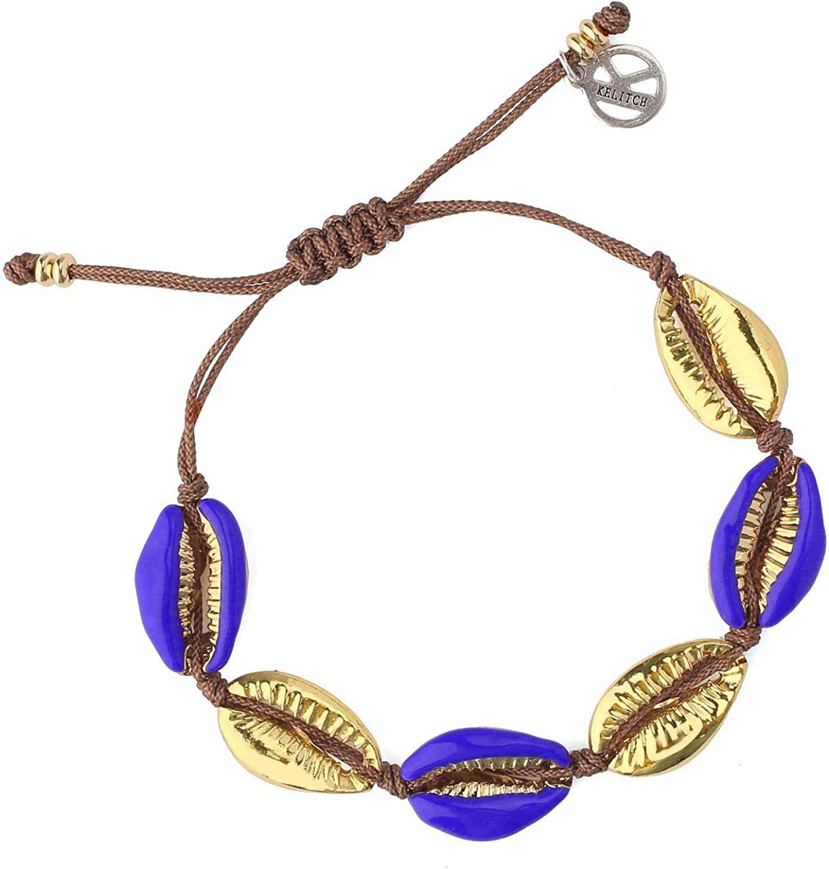KELITCH Gold Shell Cowry Cuff Bracelets Bangle Tropical Beach Strand Bracelets Adjustable Friendship Bracelets for Womens (Blue)