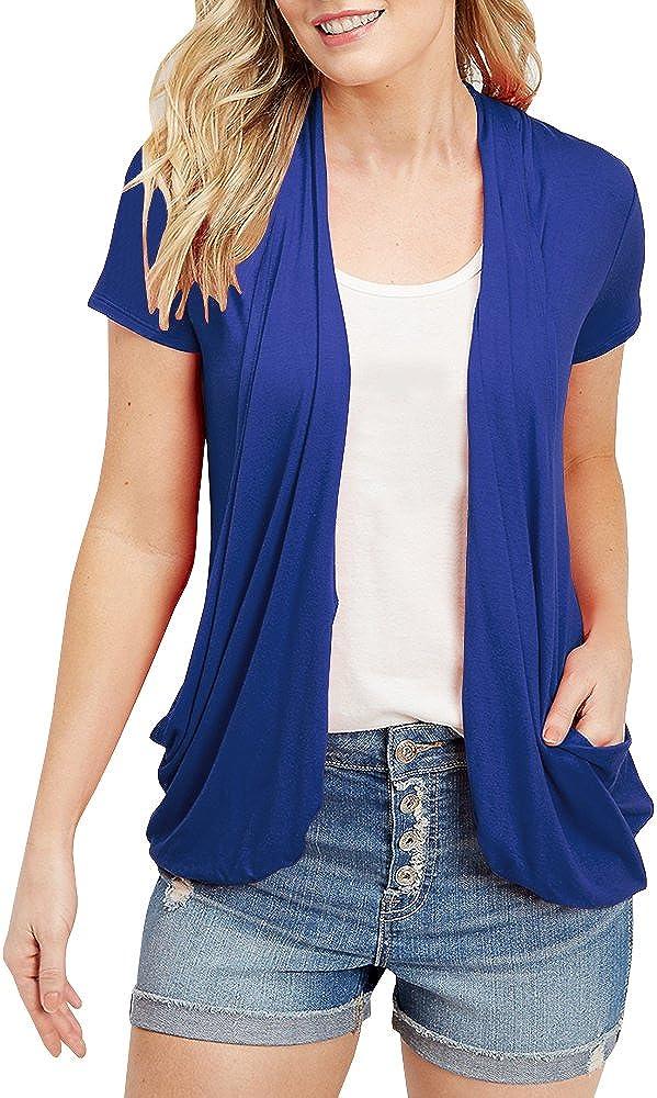 Niitawm Womens Casual Short Sleeves Cardigan Open Front Lightweight Pocket Cardigans (S,Blue)