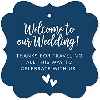 Andaz Press Out of Town Bags Fancy Frame Gift Tags, Welcome to Our Wedding Thanks for Traveling to Celebrate with Us, Navy Blue, 24-Pack, for Destination OOT Gable Boxes