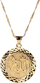 Men Allah Gold Pendant Necklace Link Chain Middle East Charm Islam Round Pendant