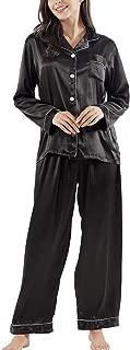 Silk Pajamas for Women,Long Sleeve Satin Pj Set Sleepwear Ladies Soft Button Down Nightwear Loungewear S~XL