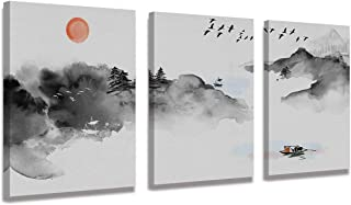 Modern Living Room Abstract Canvas Wall Art Black and White Decoration Ink Landscape Painting Abstract Mural Artwork Living Room Bedroom Decoration Bathroom Design 3 Piece Set Ready to Hang Frame