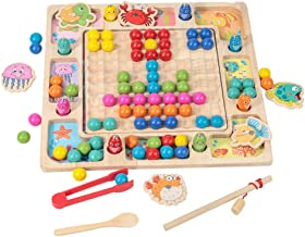 TOYMYTOY Magnetic Fishing Game Toy Wooden Motor Skill Toy Bead Counting Shape Sorter Game Puzzle Board Color Sorting Toy f...