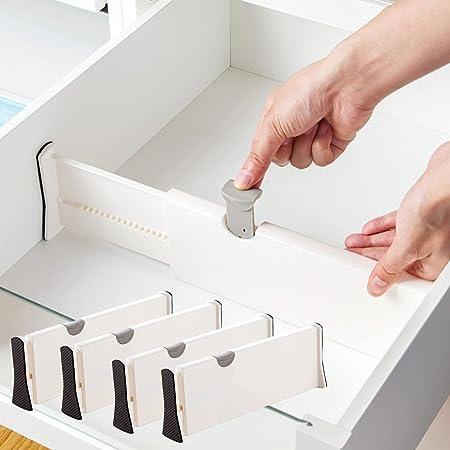 Séparateurs de Tiroir ( Lot de 4) Organisateurs de Tiroir Réglables, (28.3 - 43.5 cm) Diviseur de Tiroir Cuisine pour Chambre à coucher, Tiroir pour bébé, Bureau